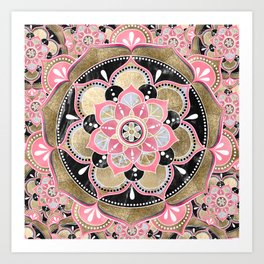 Elegant girly tribal mandala design Art Print