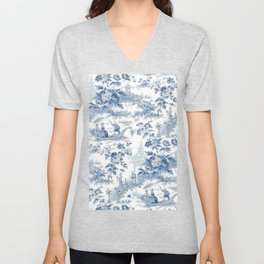 Powder Blue Chinoiserie Toile Unisex V-Neck