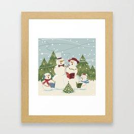 Christmas Song / Snowmen Framed Art Print