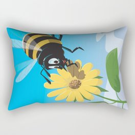 Happy cartoon bee with yellow flower LARGE Rectangular Pillow