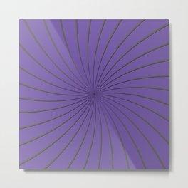 3D Purple and Gray Thin Striped Circle Pinwheel Digital Graphic Design Metal Print