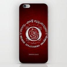 Joshua 24:15 - (Silver on Red) Monogram O iPhone & iPod Skin