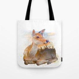 Sitting Deer Landscape Watercolor Tote Bag