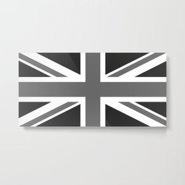 UK Flag, High Quality 1:2 Grayscale Metal Print