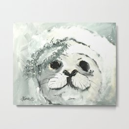 White Seal Metal Print
