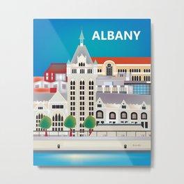 Albany, New York - Skyline Illustration by Loose Petals Metal Print