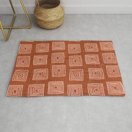 Labyrinth in Rust Rug