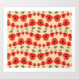 Red poppies dance Art Print