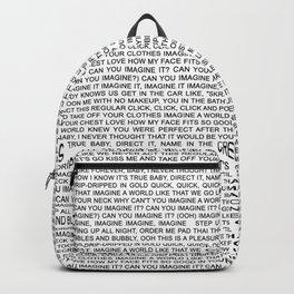 imagine - Ariana - lyrics - white black Backpack