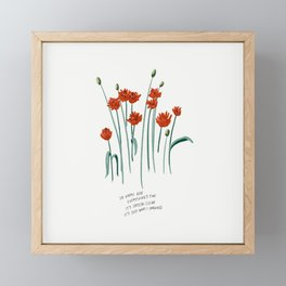 So Happy Here Everything's Fine Red Floral Illustration Lyrics Framed Mini Art Print