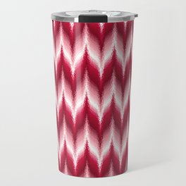 Bargello Pattern in Red and White Travel Mug