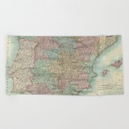 Vintage Map of Spain and Portugal (1801) Beach Towel