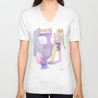 sailormoon V-neck T-shirts featuring 90s Sailormoon by Collectif PinUp!