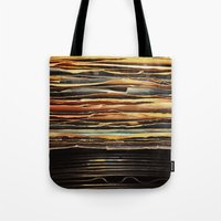 records Tote Bags featuring Sunrise Records by Margaux Thibeault