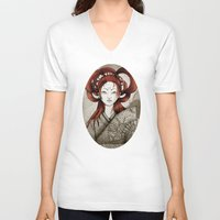 postcard V-neck T-shirts featuring Japanese Postcard by Little faba