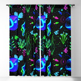 Angler Fish and small fishs Blackout Curtain