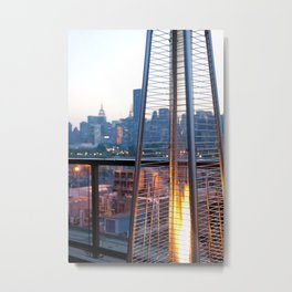 Fire Pit with Manhattan Skyline (NYC) Metal Print