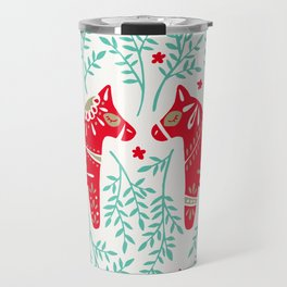 Swedish Dala Horses – Red & Mint Palette Travel Mug