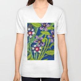 Cozy Felted Wool Flower Garden Unisex V-Neck