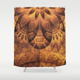 Beautiful Gold and Brown Honeycomb Fractal BeeHive Shower Curtain