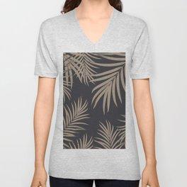 Palm Leaves Pattern Sepia Vibes #2 #tropical #decor #art #society6 Unisex V-Neck