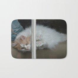 White Cat window Bath Mat