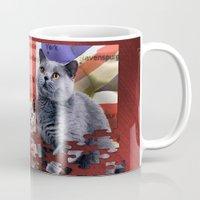 british flag Mugs featuring British Shorthair by Selina Morgan