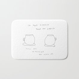 Best Friends Coffee Cups -  kitchen illustration cafe latte family Bath Mat