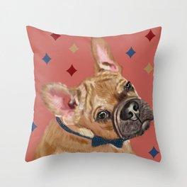 Queen Pugs #DogPortrait Throw Pillow