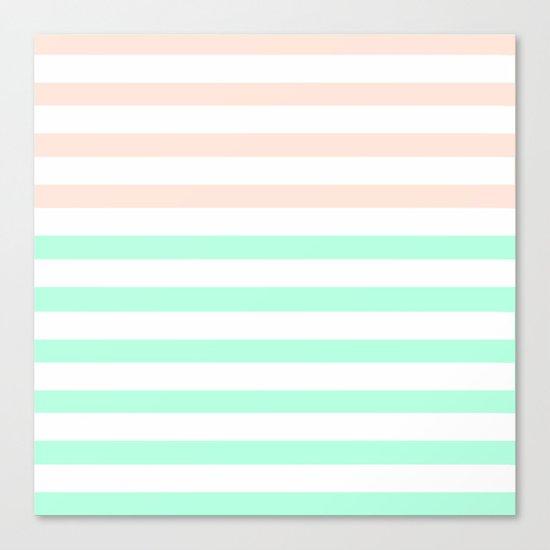 MINT & PEACH STRIPES Canvas Print