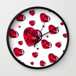 MODERN ART RAINING RUBY RED VALENTINES HEARTS Wall Clock
