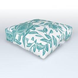 Modern vintage mint blue white elegant floral Outdoor Floor Cushion