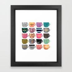 Pretty Coffee Cups Framed Art Print