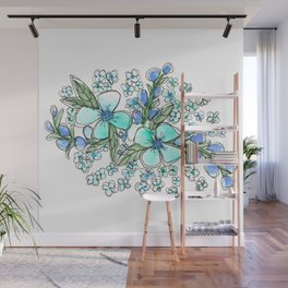 Blue Forget Me Not Floral Watercolor Wall Mural