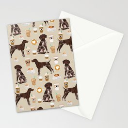 German Shorthair Pointer dog breed custom pet portrait coffee lover pet friendly gifts Stationery Cards