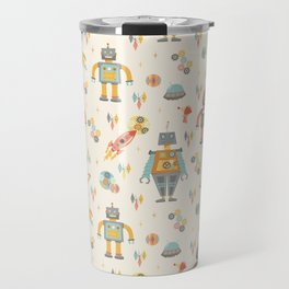 Vintage Inspired Robots in Space Travel Mug