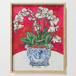 Orchid in Blue-and-white Bird Pot on Red after Matisse Serving Tray