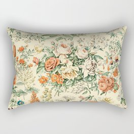Wildflowers and Roses // Fleurs III by Adolphe Millot 19th Century Science Textbook Artwork Rectangular Pillow
