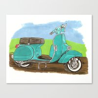 vespa Canvas Prints featuring Vespa by JasonKoons