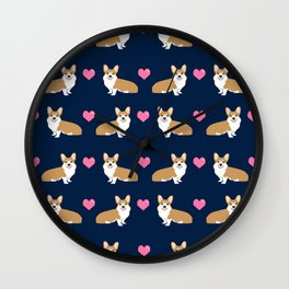Corgi love hearts welsh corgis dog breed gifts essential dog lover must haves Wall Clock