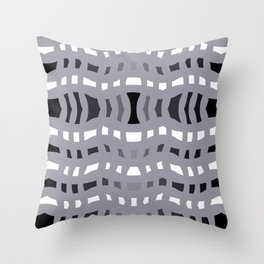 Gray Wavy Crossing Lines Throw Pillow