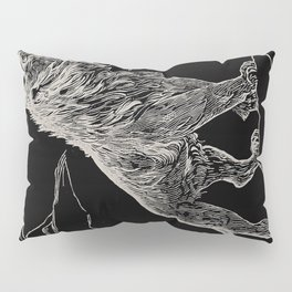 The animal story book Andrew Lang - 1904 Black & White Ink Lion Magical Mystical Animal Art Pillow Sham