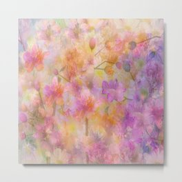 Sophisticated Painterly Floral Abstract Metal Print
