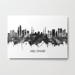 Abu Dhabi UAE Skyline BW Metal Print
