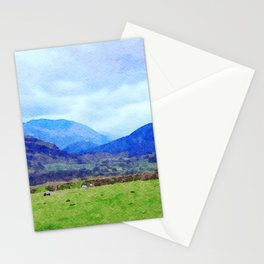 Sheep in Pasture View from Castlerigg Stone Circle, Lake District UK Watercolor Stationery Cards