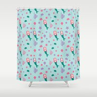 mermaids Shower Curtains featuring Mermaids by S. Vaeth