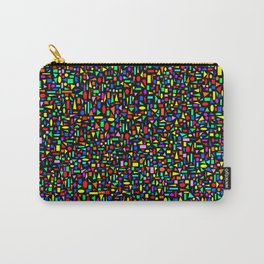 Various colored geometric shapes on a black background Carry-All Pouch
