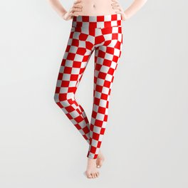 Large Australian Flag Red and White Check Checkerboard Leggings