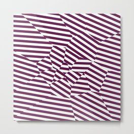 Mulberry Strip - Voronoi Stripes Metal Print