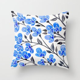 Cherry Blossoms – Blue Palette Throw Pillow